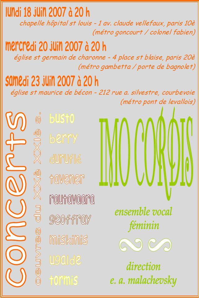 IMO CORDIS concerts juin 2007